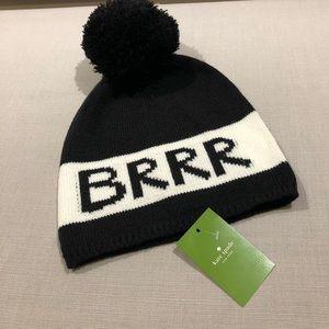 Kate Spade 'BRR' Beanie black and white nwt